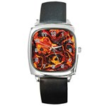 Lava Active Volcano Nature Square Metal Watch Front