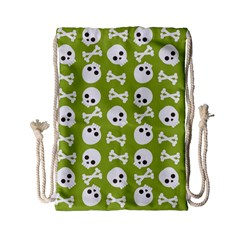 Skull Bone Mask Face White Green Drawstring Bag (small)