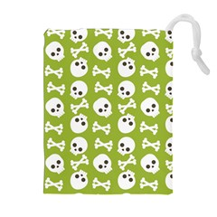 Skull Bone Mask Face White Green Drawstring Pouches (extra Large)