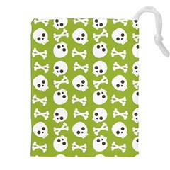 Skull Bone Mask Face White Green Drawstring Pouches (xxl)