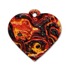 Lava Active Volcano Nature Dog Tag Heart (two Sides)