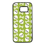 Skull Bone Mask Face White Green Samsung Galaxy S7 Black Seamless Case Front