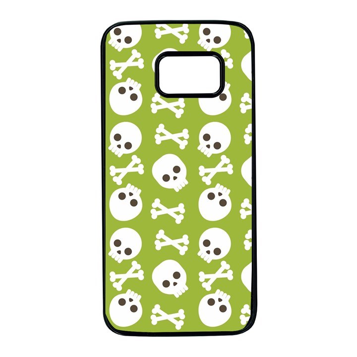 Skull Bone Mask Face White Green Samsung Galaxy S7 Black Seamless Case