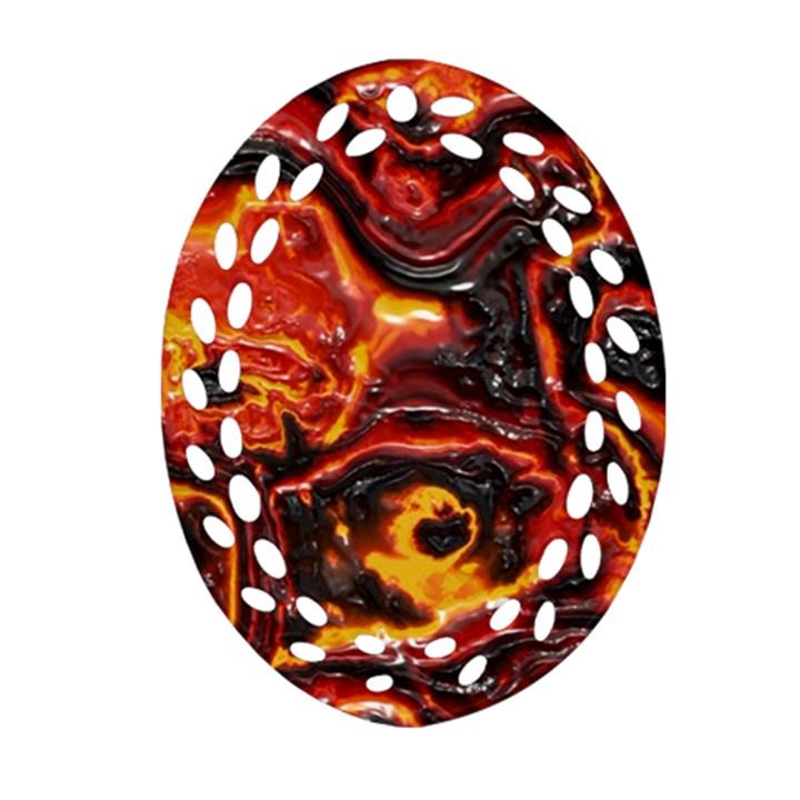 Lava Active Volcano Nature Oval Filigree Ornament (Two Sides)
