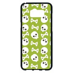 Skull Bone Mask Face White Green Samsung Galaxy S8 Plus Black Seamless Case