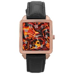 Lava Active Volcano Nature Rose Gold Leather Watch
