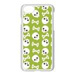 Skull Bone Mask Face White Green Apple iPhone 8 Seamless Case (White) Front