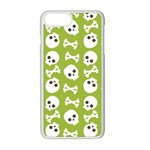 Skull Bone Mask Face White Green Apple iPhone 8 Plus Seamless Case (White) Front