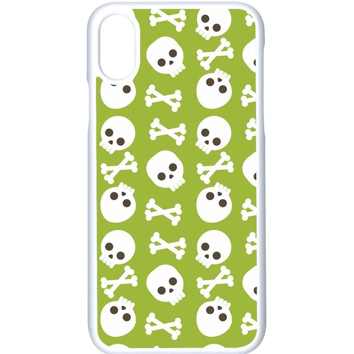 Skull Bone Mask Face White Green Apple iPhone X Seamless Case (White)