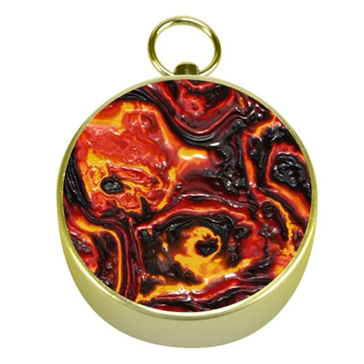 Lava Active Volcano Nature Gold Compasses