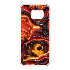 Lava Active Volcano Nature Samsung Galaxy S7 Edge White Seamless Case