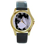 Heartwill Round Gold Metal Watch Front
