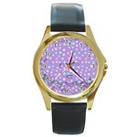 Little Face Round Gold Metal Watch Front