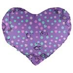 Little Face Large 19  Premium Flano Heart Shape Cushions Back