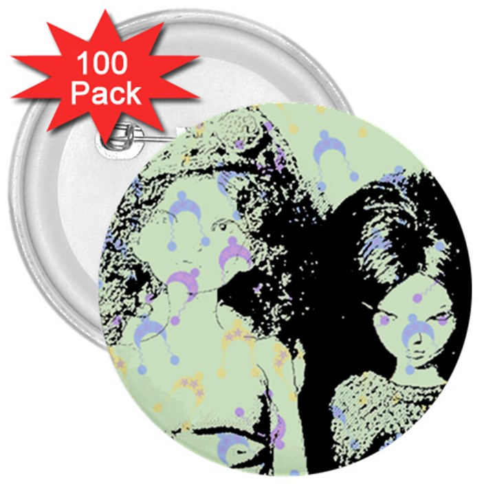 Mint Wall 3  Buttons (100 pack)