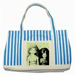 Mint Wall Striped Blue Tote Bag Front