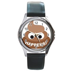 Poo Happens Round Metal Watch