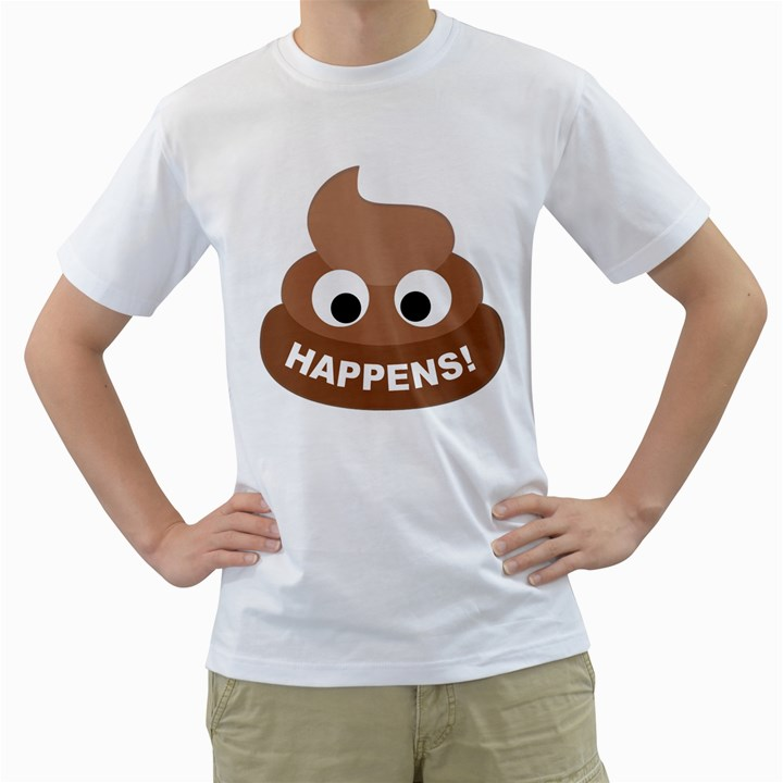 Poo Happens Men s T-Shirt (White) (Two Sided)