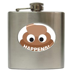 Poo Happens Hip Flask (6 Oz)