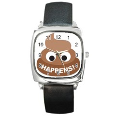 Poo Happens Square Metal Watch