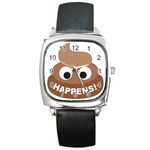 Poo Happens Square Metal Watch Front