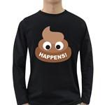 Poo Happens Long Sleeve Dark T-Shirts Front