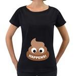 Poo Happens Women s Loose-Fit T-Shirt (Black) Front