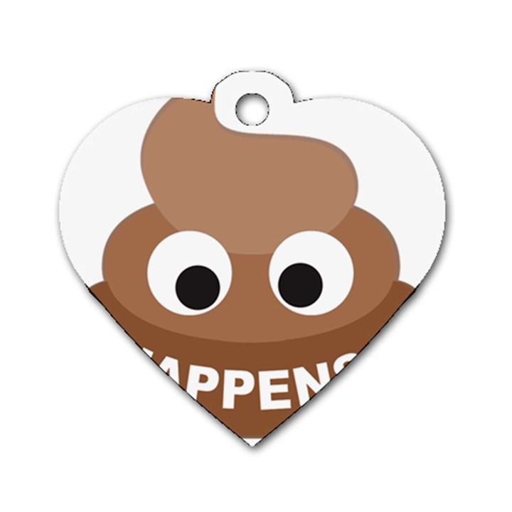 Poo Happens Dog Tag Heart (Two Sides)