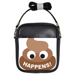 Poo Happens Girls Sling Bags Front