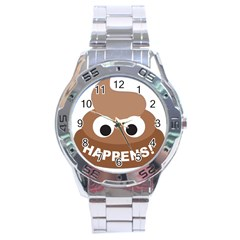 Poo Happens Stainless Steel Analogue Watch