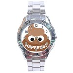 Poo Happens Stainless Steel Analogue Watch Front