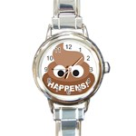 Poo Happens Round Italian Charm Watch Front
