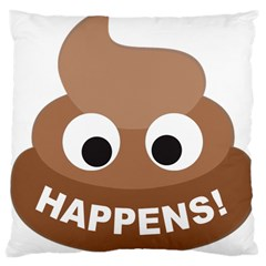 Poo Happens Large Cushion Case (two Sides)