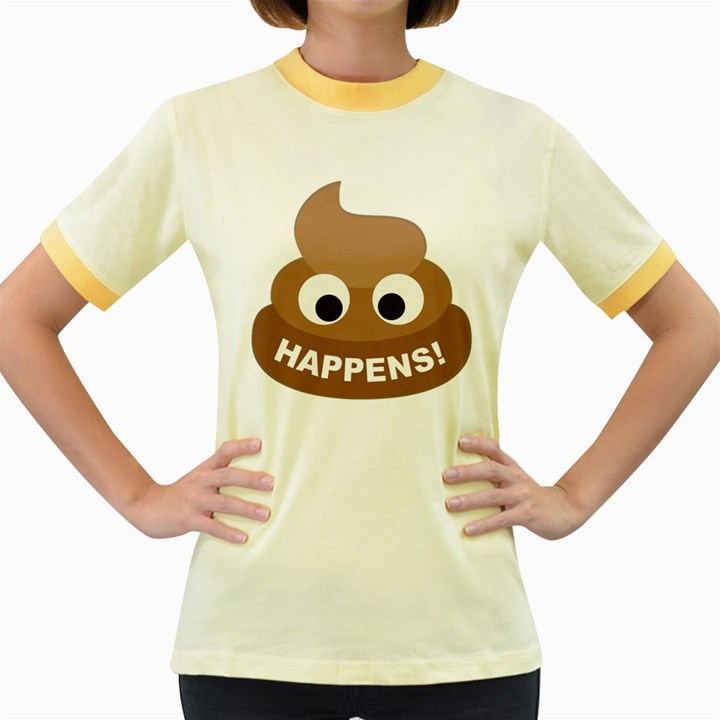 Poo Happens Women s Fitted Ringer T-Shirts