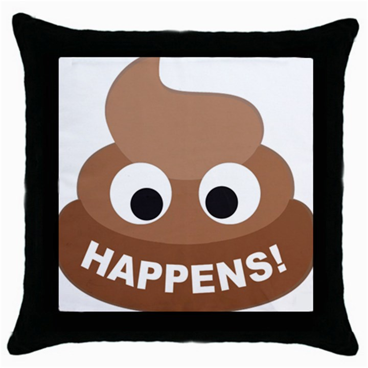 Poo Happens Throw Pillow Case (Black)