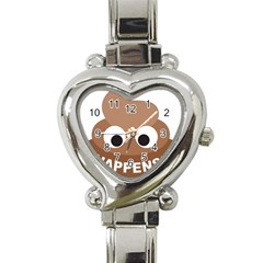 Poo Happens Heart Italian Charm Watch