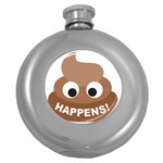 Poo Happens Round Hip Flask (5 oz) Front