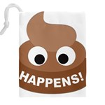 Poo Happens Drawstring Pouches (XXL) Back