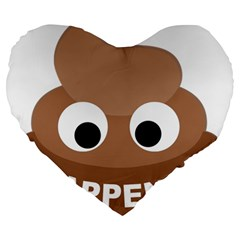 Poo Happens Large 19  Premium Heart Shape Cushions