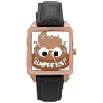 Poo Happens Rose Gold Leather Watch  Front