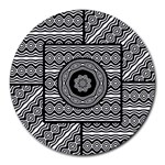 Wavy Panels Round Mousepads Front