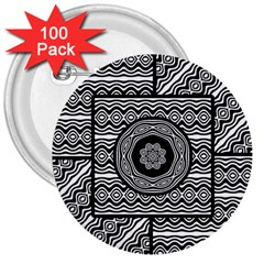 Wavy Panels 3  Buttons (100 Pack)