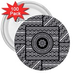 Wavy Panels 3  Buttons (100 pack)  Front