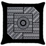 Wavy Panels Throw Pillow Case (Black) Front