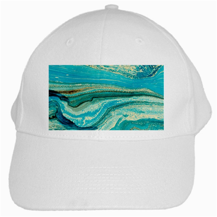 Mint,gold,marble,nature,stone,pattern,modern,chic,elegant,beautiful,trendy White Cap