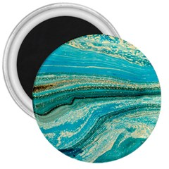 Mint,gold,marble,nature,stone,pattern,modern,chic,elegant,beautiful,trendy 3  Magnets