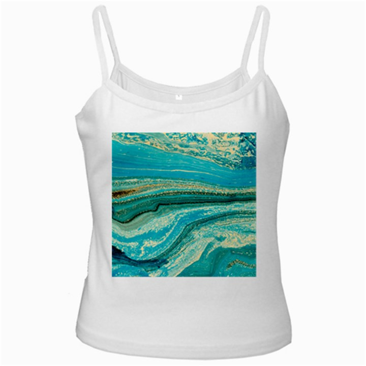 Mint,gold,marble,nature,stone,pattern,modern,chic,elegant,beautiful,trendy White Spaghetti Tank