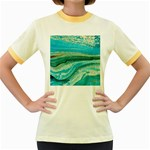 Mint,gold,marble,nature,stone,pattern,modern,chic,elegant,beautiful,trendy Women s Fitted Ringer T-Shirts Front
