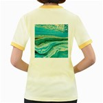 Mint,gold,marble,nature,stone,pattern,modern,chic,elegant,beautiful,trendy Women s Fitted Ringer T-Shirts Back