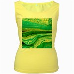 Mint,gold,marble,nature,stone,pattern,modern,chic,elegant,beautiful,trendy Women s Yellow Tank Top Front